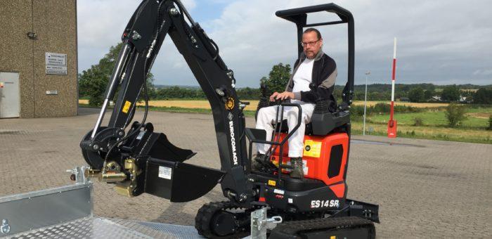 Ny Eurocomach 1.3 tons minigraver med proportionalstyrede joystick